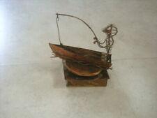 Hc Vintage Brass Copper Metal Art Fishing Boat Music Box