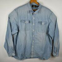 RRL Ralph Lauren Double RL Blue Denim Western Shirt Button Front Men's XXL