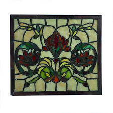 Stained Glass Window Pane in Hand Made Leaded Glass with Floral Pattern Small