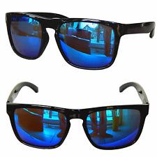 WAYFARER SONNENBRILLE CLUBMASTER NERD RETRO BRILLE Schwarz blau verspiegelt W3