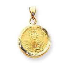 14k Yellow Gold Scalloped Bezel Pendant Only Mounting for 1/10 oz Liberty Coin