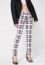 Tripp NYC  White Tartan Skinny Jeans,  Rock & Roll,  26, skull rivets BNWT