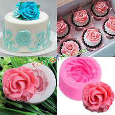 DIY 3D de silicona flor de Rose Molde Fondant Cake Tool Mold