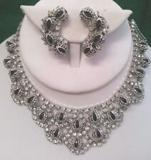 JULIANA NECKLACE & CLIP EARRINGS - BLACK STONES W/ SILVER FILIGREE & RHINETONES