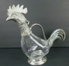 Valpeltro Crystal Glass Pewter Rooster Pitcher Carafe Decorative Made in Italy