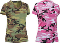 Womens Camo Tee Short Sleeve Long Length V-Neck Military T-Shirt Army Camouflage