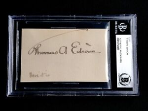 THOMAS EDISON SIGNED CARD BECKETT (BAS) CERTIFIED AUTHENTIC AUTOGRAPH AUTO RARE!