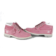 Vintage Timberland Womens 9.5 Waterproof Suede Leather Ankle Boots Pink White