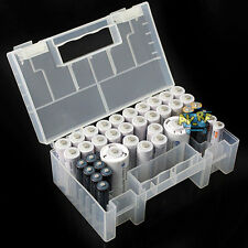 Clear Hard Plastic Portable AAA AA C Battery Case Holder Storage Box With Handle