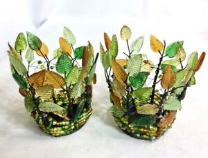 YANKEE CANDLE Autumn Leafs Wire Bead Votive Candle Holder Set of 2 - RETIRED