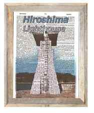 Hiroshima Lighthouse Japan Altered Art Print Upcycled Vintage Dictionary Page