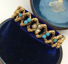 Victorian Antique Yellow Metal Turquoise Pearl Expanding Bracelet Cuff Clover