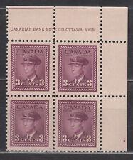 1942 #252 3¢ KING GEORGE VI WAR ISSUE  PLATE BLOCK #15 F-VF