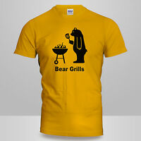 New Mens or Womens Funny Novelty BBQ Joke BEAR GRILLS Barbeque T-SHIRT Gift Tee