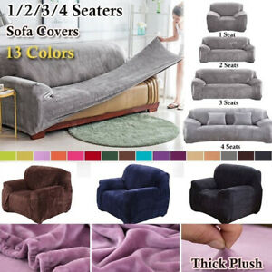 Universal Thicken Stretch Elastic Sofa Seater Cover Plush Velvet Slipcover Couch