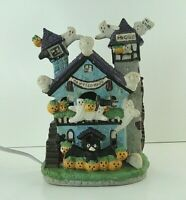 "Vintage Halloween Ceramic Haunted House Ghost Light CREEPY Village 7.5"""