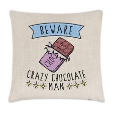 Attention fou chocolat Homme Lin Housse de coussin oreiller - DRÔLE