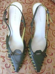 Nine West Women's Shoes Sz 8 Green Leather Heels Slingbacks Strappy