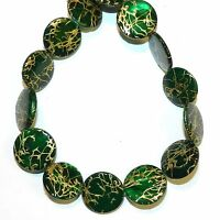 """MP2425 Green w Gold Drawbench Drizzle 20mm Round Mother of Pearl Shell Bead 15"""""""