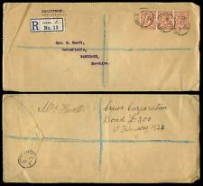 RAILWAY 1924 REGISTERED CREWE STATION CDS + CC PERFINS 4 1/2d FRANKING