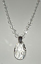 Clear Crystal Drop Pendant and Necklace