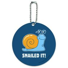 Snailed It Snail Nailed Funny Humor Round Luggage ID Tag Card Suitcase Carry-On