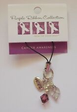Pancreatic Cancer Awareness Purple Ribbon ~HOPE~ Charm Strap NEW with Tags