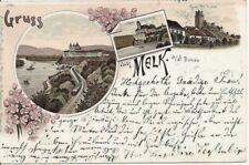 Melk a.d. Donau 1897 Litho Panorama Eisenbahn Schiffe Ruine Weitenegg Schönbühel