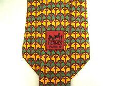 "Hermes Mens Necktie Tie Nautical Anchors Checkered Yellow Green 7664 TA Silk 59"""