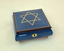 Made In Italy Sorrento Blue Music Box with White Star of David (Sankyo 18 notes)