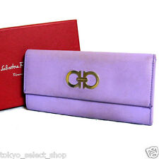 Auth Salvatore Ferragamo Gancini Bifold Long Wallet Purple Leather Italy Vintage