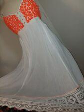 FREE PEOPLE Medium Dress Embroidered Neon Orange Summer Flare Lace RARE pockets