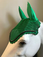 Kelly Green Bling Horse Crochet Fly Bonnets (Horse, 7. Black)