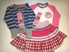 NWT Mim Pi Girls World of Joy Lot  Shirt, Plaid Skirt, & Sweater  Size 104 4Y