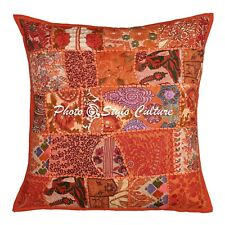 Indian Throw Pillow Cover Orange 60 x 60 cm Patchwork Abstract Cushion Cover