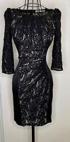 Stunning KAREN MILLEN Black Lace Panel 3/4 Sleeves Bodycon Party Dress UK 8