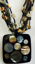 Mother of Pearl Inlays on Bold Black Pendant Multi-stranded Beads By Chicos