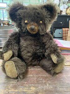 Antique Vintage 1930s? brown mohair?  American Knickerbocker Teddy Bear