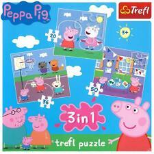 New Trefl 3 In 1 20, 36, 50 Piece Unisex Kids Peppa Pig Family Jigsaw Puzzle