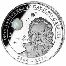 GALILEO GALILEI 450 Anniversary Moonstone 2 Oz Silver Coin 10$ Cook Island 2014