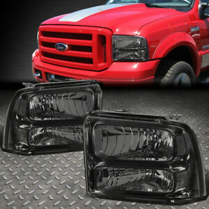 FOR 05-07 FORD F250 F350 SUPER DUTY SMOKED HOUSING CLEAR CORNER HEADLIGHT LAMPS