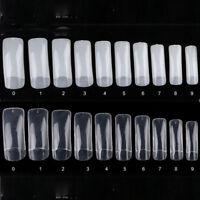 100Pcs Transparent/Nature Artificial Fake False Nail Art Tips 10 Sizes Kit