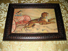GODDESS PULLED BY TIGER 4 X 6 brown framed picture Victorian style animal art