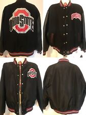 NWT vtg JH DESIGN Ohio State Buckeyes Reversible Leather Wool Varsity Jacket 4XL
