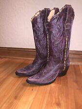 Corral Boot Co Women's Purple W/ Yellow Stitch Size 8.5 $249 Bird Wings