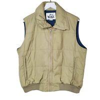 Woolrich Vintage Mens Size L Tan Blue Full Zip Puffer Vest Sleeveless Jacket