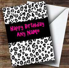 Black & White Leopard Print Personalised Birthday Greetings Card