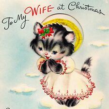 VINTAGE Christmas Card ADORABLE ANGEL KITTY Hallmark 50s RARE Wife PopUp CAT vtg