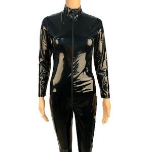 Sexy Women Leather Wetlook Catsuit Bodysuit 2-Way Zipper Shiny Lingerie Jumpsuit
