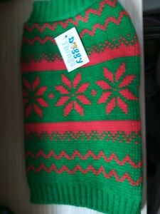 NEW RED AND GREEN DOG CHRISTMAS JUMPER, SIZE 25CM.  (2)